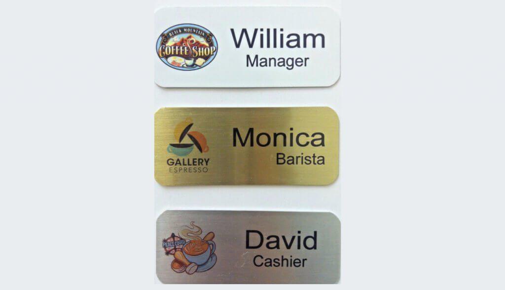 brushed metal name badges