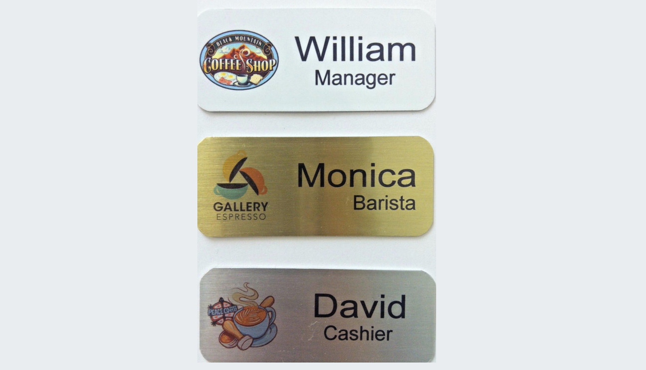 brushed metal name badges