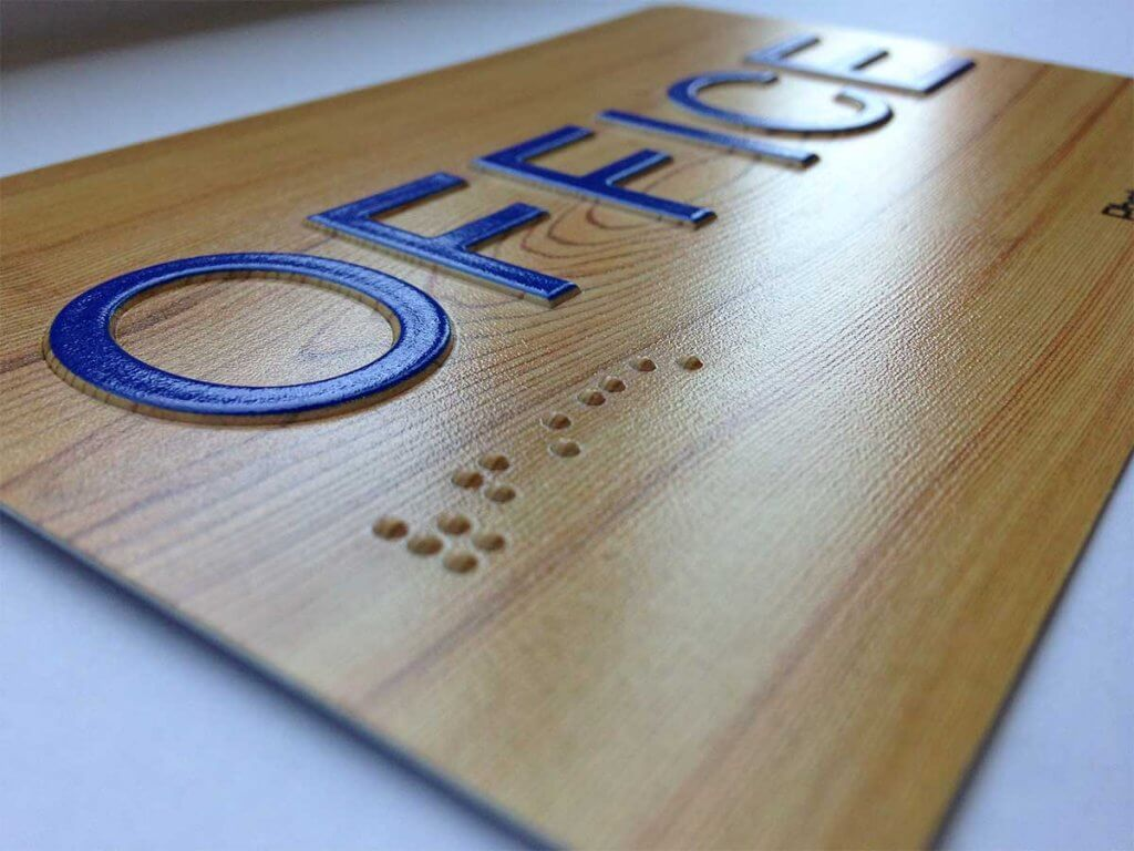 digitally printed Braille Signs