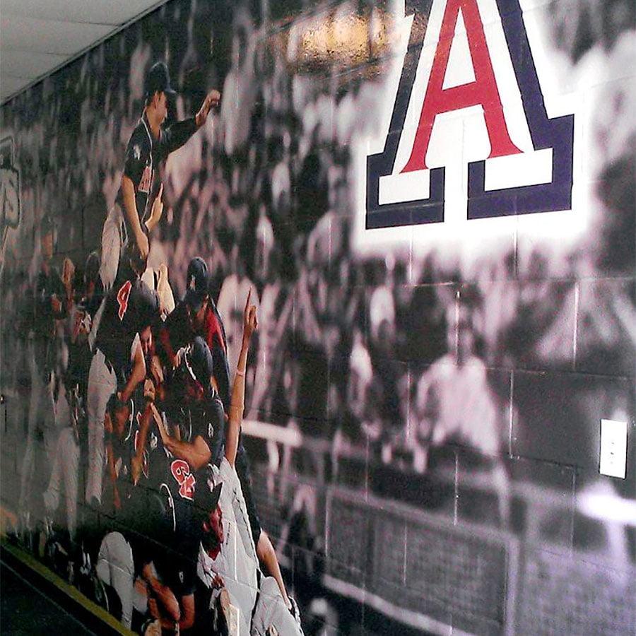 Mual on Cinderblock for UA Baseball